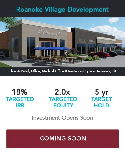 Commercial Real Estate Investment Offering Roanoke Village Development Pioneer Realty Capital